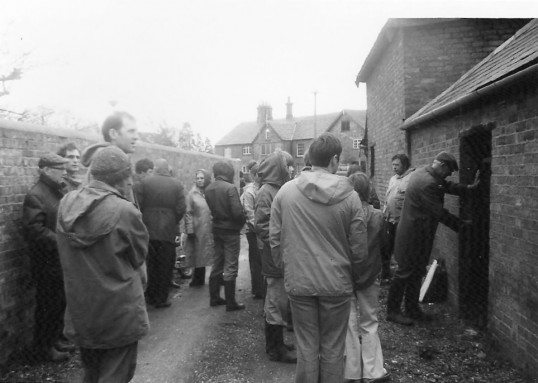 First ever field walk in Sawtry by the Archaeological Society.(A visit to the Old Lock Up.)
