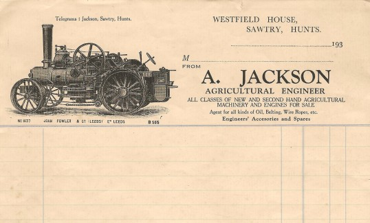 Heading of reciept book of A. Jackson, agricultural engineerWestfield House Sawtry.