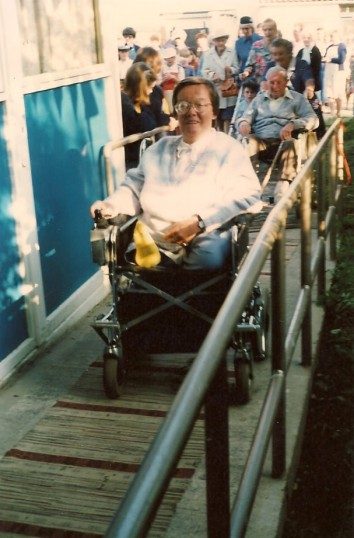 Sue Holliday, the first wheelchair access to Caresco, in Sawtry. (Just going in).
