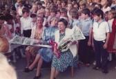 Last days of the Junior School in the Old School Hall Sawtry.(The retiring teachers)
