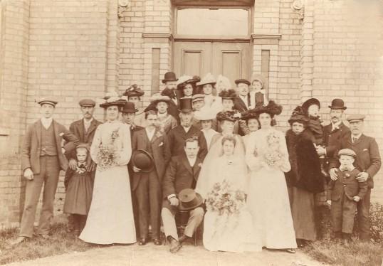 The marriage of Emily Hughes to Frederic Robinson. Photo taken at Whitehall Sawtry. 1903
