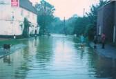 Flooding outside the Addison Arms Glatton.
