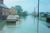 Flooding in Church Street Sawtry, view from the High Street.