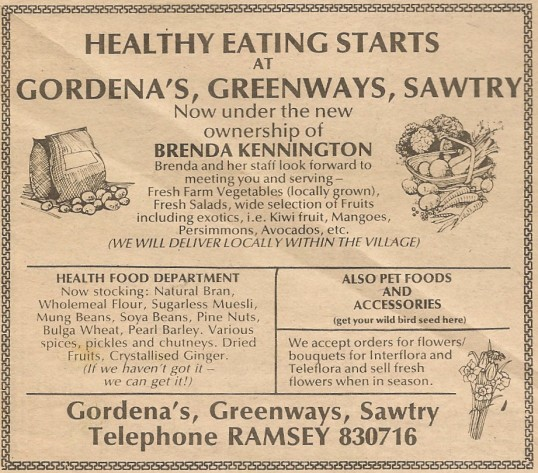 Shops at Greenways Sawtry, advert.