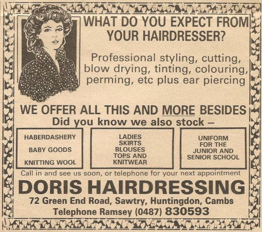 Shop Green End Road Sawtry, advert.