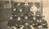 Sawtry Council School, football team. (Same shirts were worn by the girls netball team.