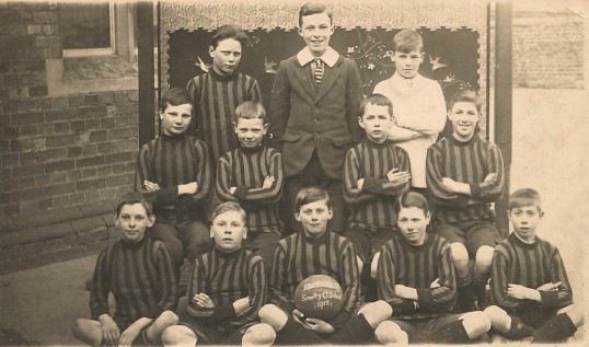 Sawtry Council School, football team. (Same shirts were worn by the girls netball team.