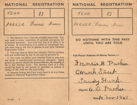 A resident of Sawtry,Brian Parker's wartime ID card, note it is buff coloured all children had then that colour.