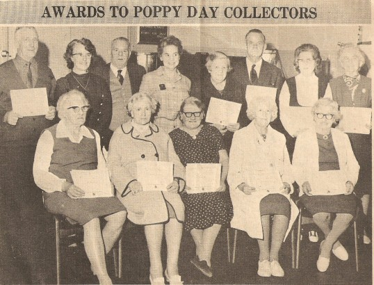 Sawtry Poppy Day collectors receiving their certificates, from the Royal British Legion, at Sawtry.