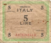Allied Millitary Currency issued to service men in occupied countries, this one is for Italy. Brought back by a Conington soldier.. Allied Military Currency