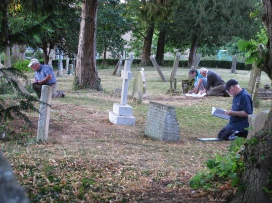 Sawtry History Society, members working on the graveyard survey at St. Nicholas Church Glatton.
