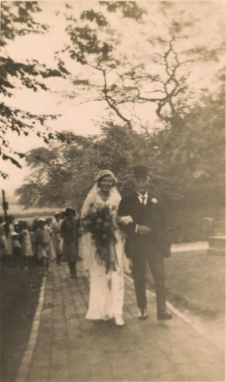 Get me to the church on time, Frank Woodbridge and his daughter Margaret. All Saints Church Sawtry.