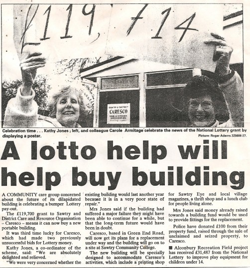 Caresco of Sawtry gets a Lottery grant of £119,741.00 for a new building.