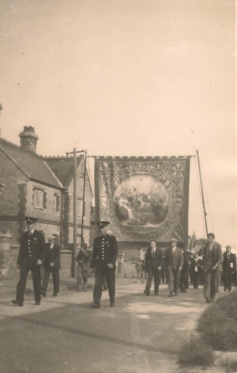 Feast Day Parade Sawtry, begining of Feast Week note the Oddfellows Banner.