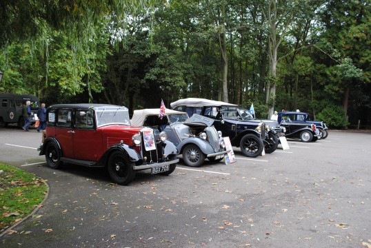 1940s Weekend in Holme Village. Some vintage cars on show.