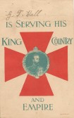 Card showing that George T Hall of Conington was serving his country in W W 1. He later died on 18/10/1916 in France.