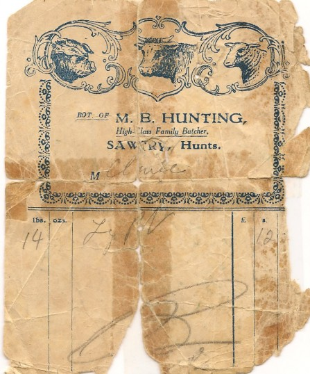 Receipt from Huntings the butsher's in Sawtry. Note 14lbs leg of pork 12 shillings.
