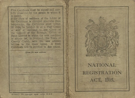 ID card World War One issued to all the population.
