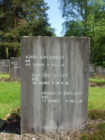 Heinrich Danzer Glatton prisoner of War 1914-1918. Headstone at Cannock Chase German Military Cemetery.