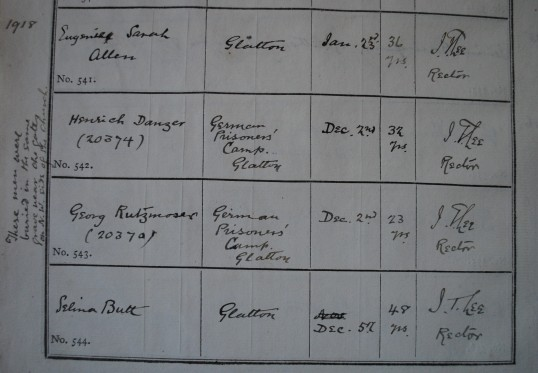 A copy of from the buriel records at St Nicholas Church Glatton. Showing two prisoner's of war.