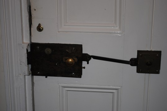 The original lock to the main door at Whitehall Sawtry.
