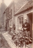 Susannah Stanyon outside the cottage at Tort Hill Sawtry.Courtesy Lesley Smith.