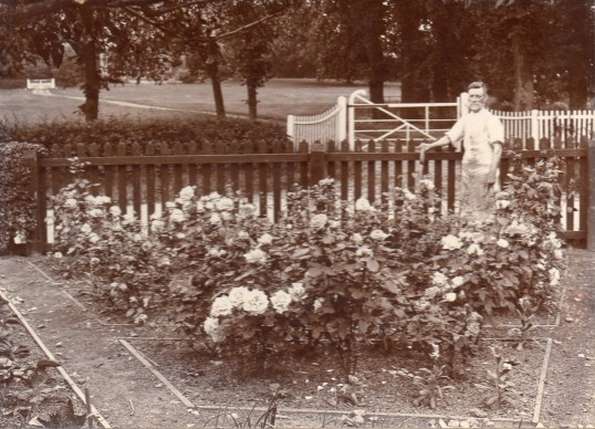 William Stanyon in the garden of the cottage at Tort Hill Sawtry. Courtesy Lesley Smith. Note the gates of the Rectory in background.
