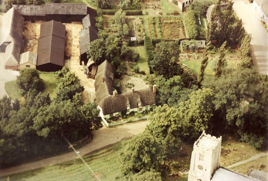 Aerial view of Church Cottage, Glatton. (Front view)