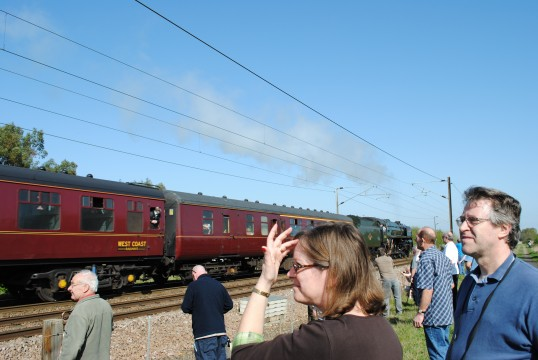 The Oliver Cromwell on it's way to Peterborough through Holme Village.