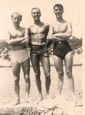 Cecil Thompson of Conington, serving with the Army in Duino Italy. (With pals)
