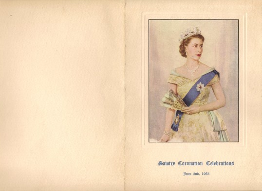 Programme for Sawtry Coronation Celibrations of Queen Elizabeth 2nd. (Front cover.)