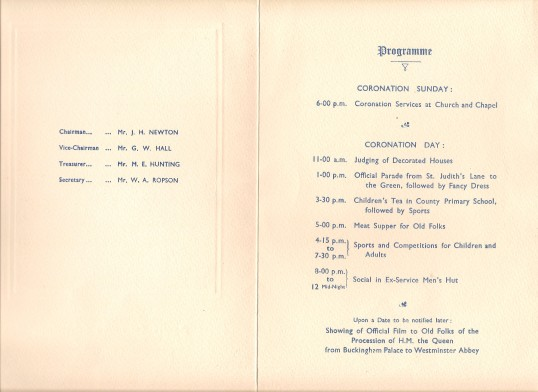 Programme for Sawtry Coronation Celibrations of Queen Elizabeth 2nd. (Inside).