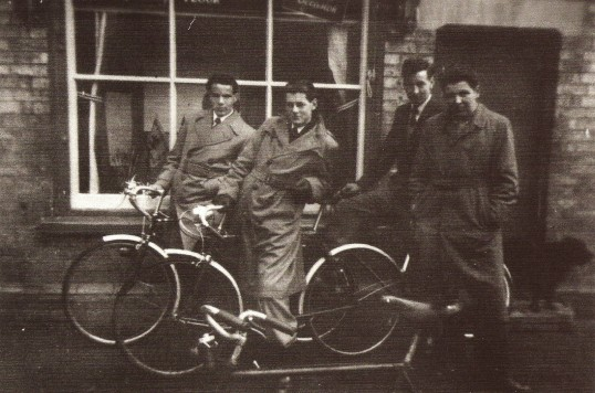 Four local teenagers of Sawtry, outside Newton's the Bakers, High Street Sawtry. (Now Boots the Chemist).