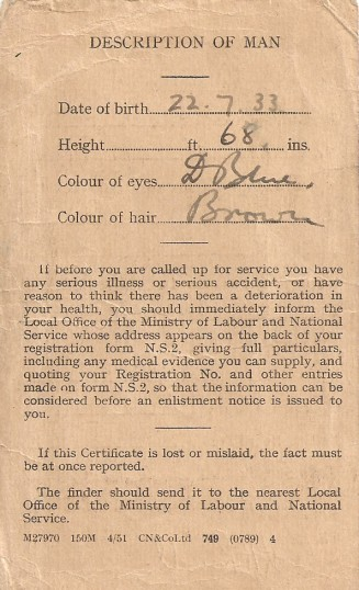 National Service Medical Card belonging to Ken Rowell of Sawtry. (Reverse side)