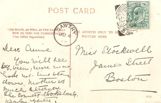 Postcard of The Green, Sawtry, reverse side note the Sawtry postmark, and a Peterborough one as well.