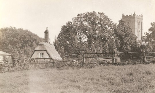 Berestead Cottage, Glatton Village. Note the church of St Nicholas on the right.