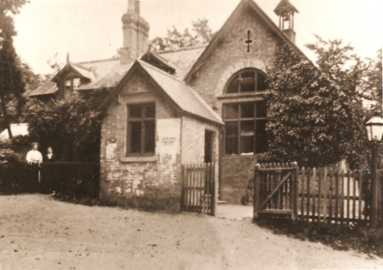 Glatton School & School House, Glatton Village. Note the oil lamp came from the streets of London,there were four in the Village.