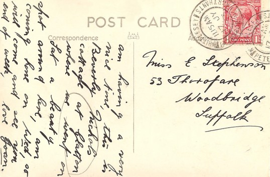 Postcard sent from Glatton Village, reverse of the Allways Cottage photograph.
