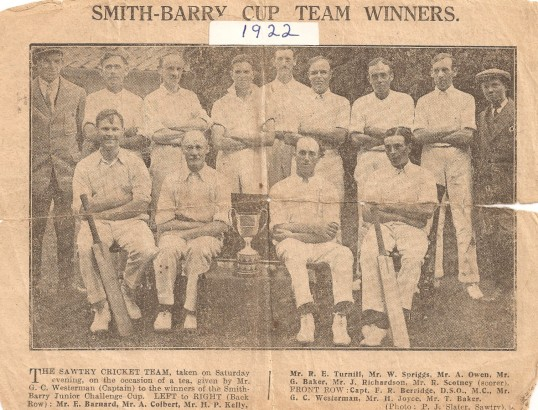 Sawtry Cricket Club, winning the Smith - Barry Junior Challenge Cup.