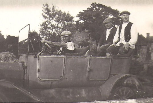 Zac Wright and friends in transport of the day, in Sawtry.