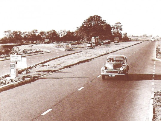 The new duel carriageway at Sawtry, completed. The old road used as laybys.