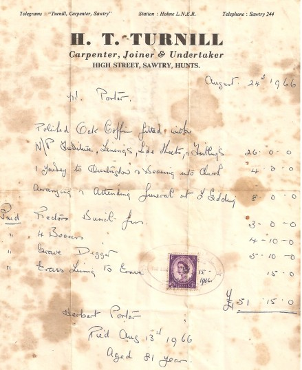 The receipt for a funeral, from H T Turnill, Undertaker High Street, Sawtry.