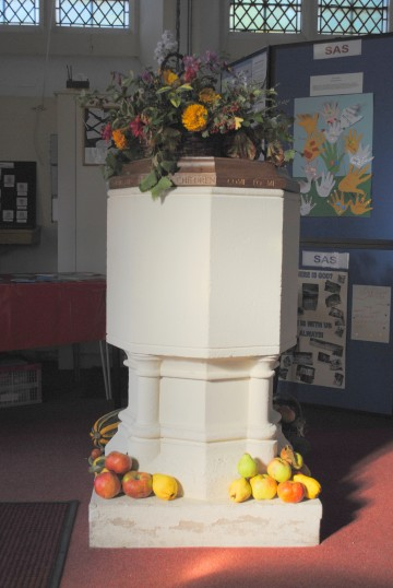 Thanksgiving Day at All Saints Church, Sawtry. (The Font decorated with fruit & flowers).