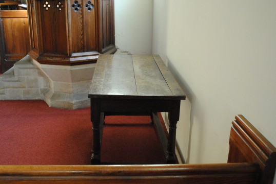Thanksgiving Day at All Saints Church, Sawtry. The altar table from Saint Andrews Church.