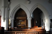 Thanksgiving Day at All Saints Church, Sawtry. The church organ on the north side of the Chancel.