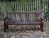 Seat in All Saints Churchyard, Sawtry. In memory of Betty Mitchley, 1919-1978. Restored by friends of All Saints.