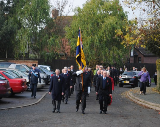 Remembrance Sunday at All Saints Church, Sawtry. (The parade arrives at the church).