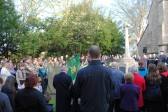 Remembrance Sunday at All Saints Church, Sawtry. (Lowering of the Standards, and the Last Post).