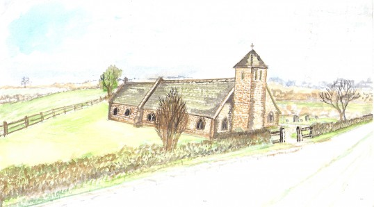 St Andrews Church, Sawtry. (A painting by Harry Milford, St Andrews was demolished in 1879.)