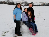 Having fun in the snow, at St Judiths Field, Sawtry.